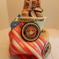 U.s. Marine Cake  This cake was for a young man graduating from Kenton High School (Ohio) and entering the U.S. Marines! Everything (except for the camo...