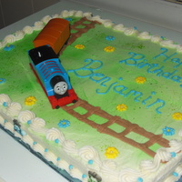 Thomas The Tank Engine My nephew's 2nd Bday cake. All buttercream with a toy on top.