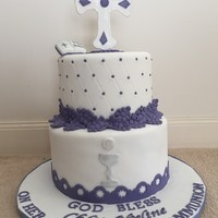 Holy Communion   Ribbon cake.
