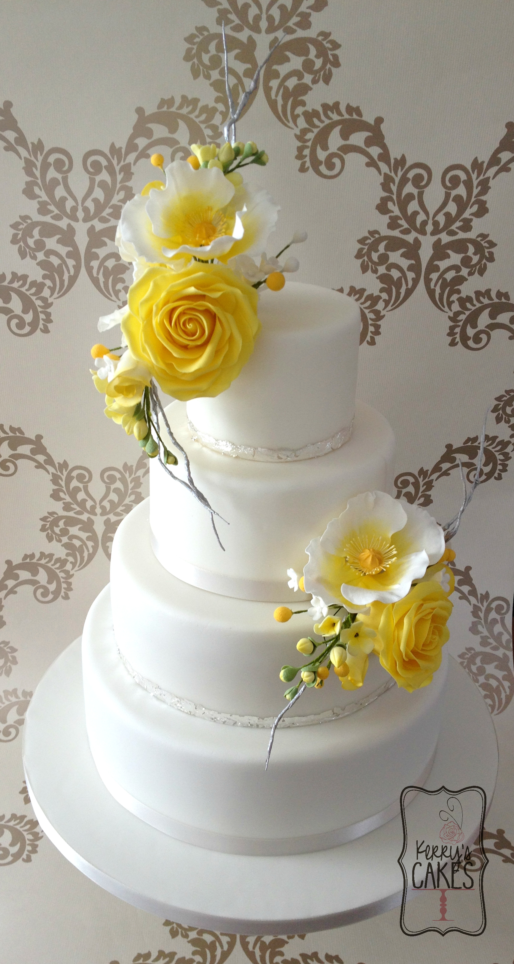 "Yellow Floral Wedding Cake Made for my beautiful friend and her handsome husband on their wedding day. No brief, just a ""we're having yellow - surprise us..."
