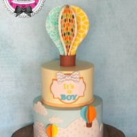 Hot Air Balloon Baby Shower Cake I designed this cake to match the colorful invitations, I used edible images for the balloon :)