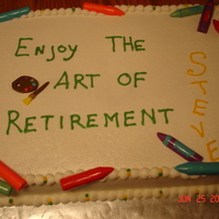 Art Of Retirement Cake for a retiring art teacher. The crayons are made of melted chocolate in different colors.