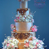 Ivory And Gold Baroque Wedding Cake With Sugar Flowers Ivory and Gold Baroque Wedding Cake with Sugar Fowers
