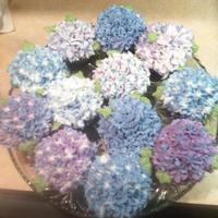 Hydrangea Cupcakes   First attempt at Hydrangea cupcakes. Chocolate cake with cream filling and buttercream frosting.