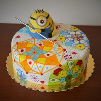Minion And Mandalas I so enjoyed a little peace while drawing mandalas on this cake