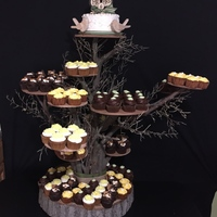 Cupcake Wedding Tree Carrot cupcake with cream cheese icing, Smores cupcale: Chocolate cupcake, marshmallow filling, graham cracker, Hershey bar, Chocolate...