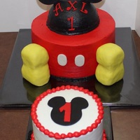 Mickey Mouse First Birthday   Mickey Mouse first birthday cake and smash cake