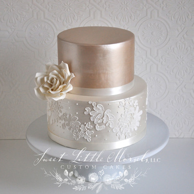 Simple Two Tone Champagne Wedding Cake