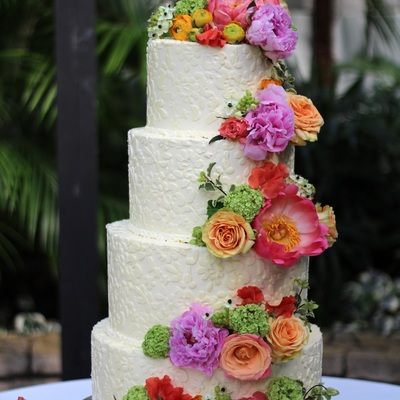 4 Tier Lace Buttercream Wedding Cake