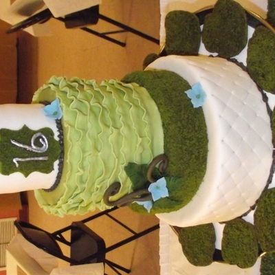 Moss, Fern And Ruffles Sweet Sixteen Cake