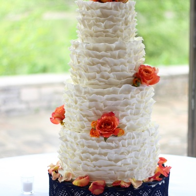 White And Coral Ruffle Cake