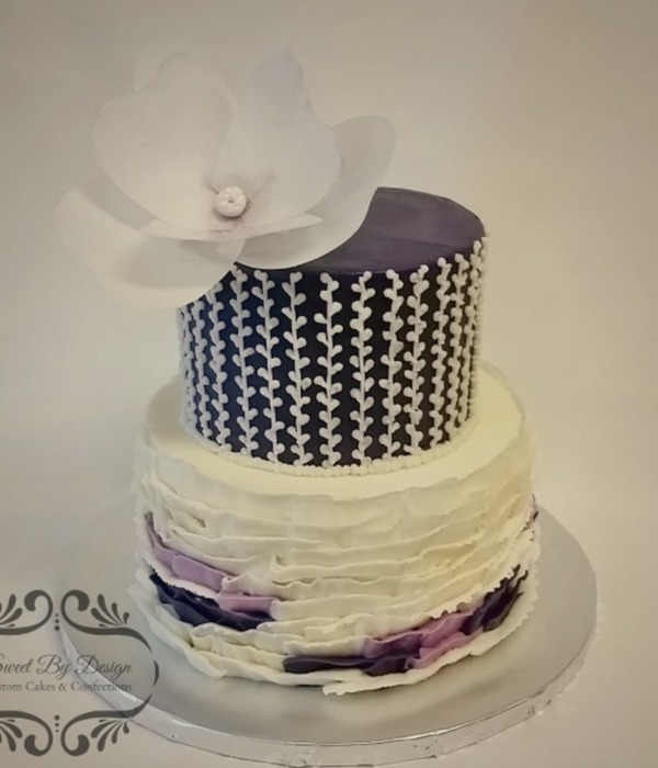 Buttercream Ruffles And Wafer Paper Flower