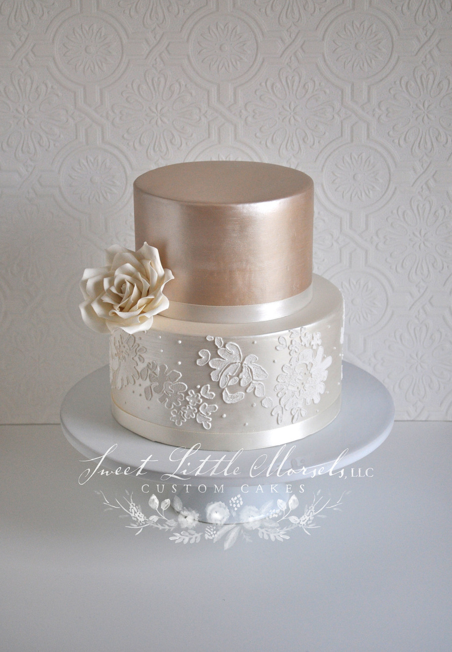 Simple Two Tone Champagne Wedding Cake on Cake Central