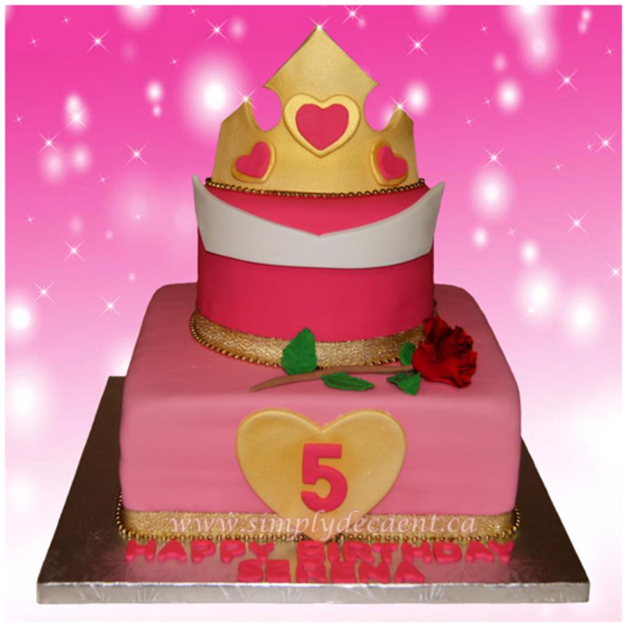 2 Tier Fondant Disney Princess Aurora Birthday Cake Sleeping