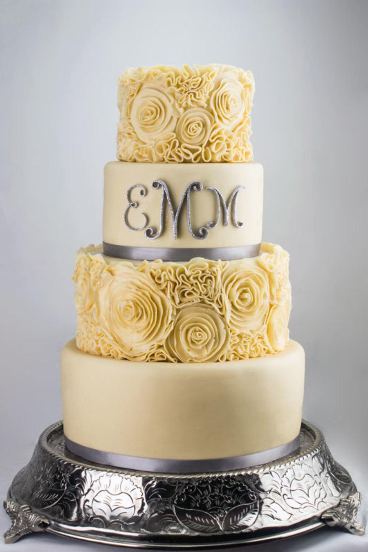 monogrammed ivory wedding cake. Black Bedroom Furniture Sets. Home Design Ideas