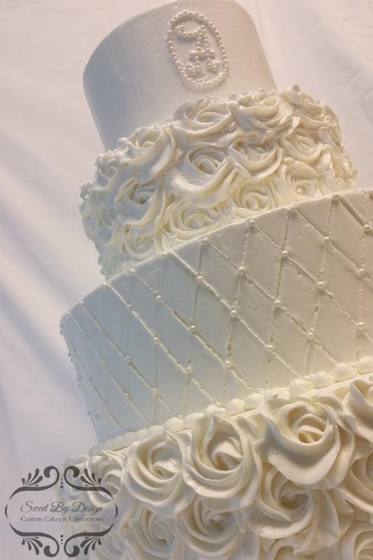 buttercream rosette and quilt wedding cake
