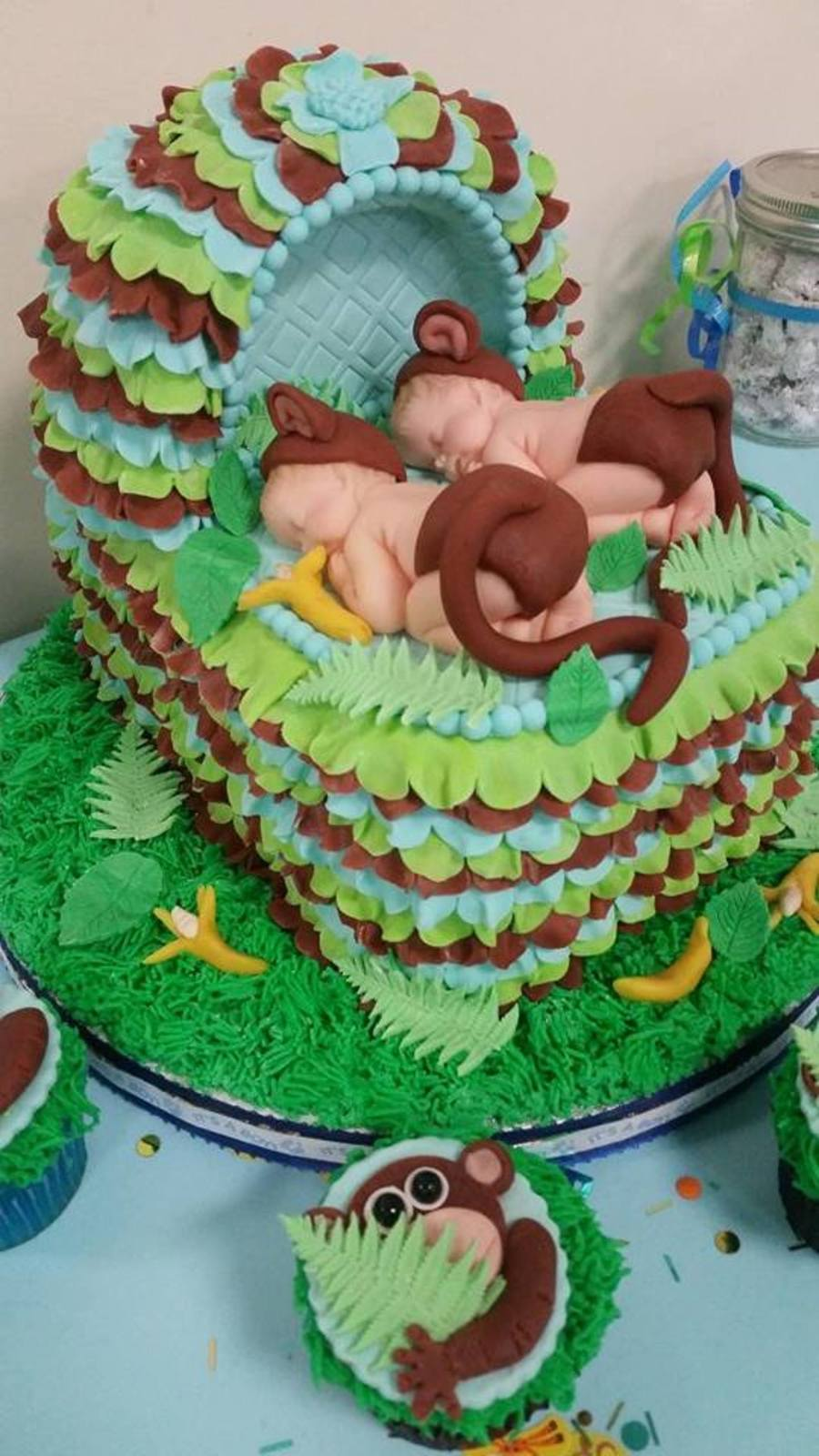 Twins baby shower cake with monkey theme - Baby shower cakes monkey theme ...