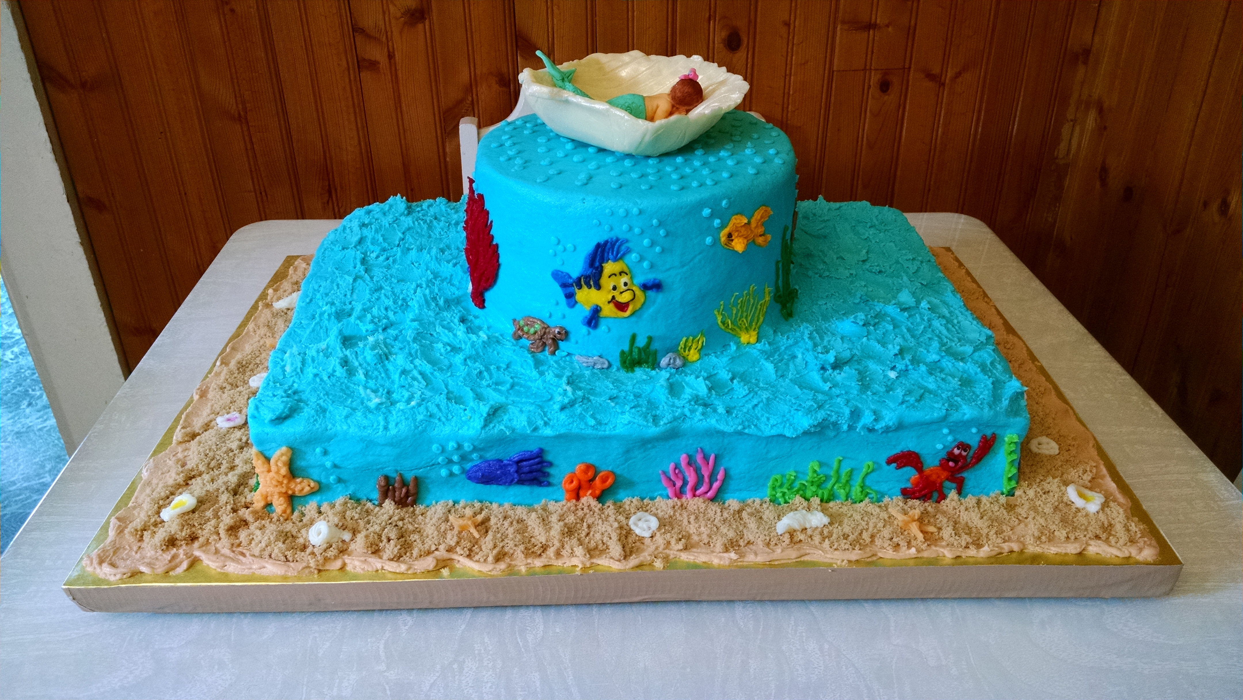 Under The Sea Baby Shower Cake For Ariel Jake CakeCentral
