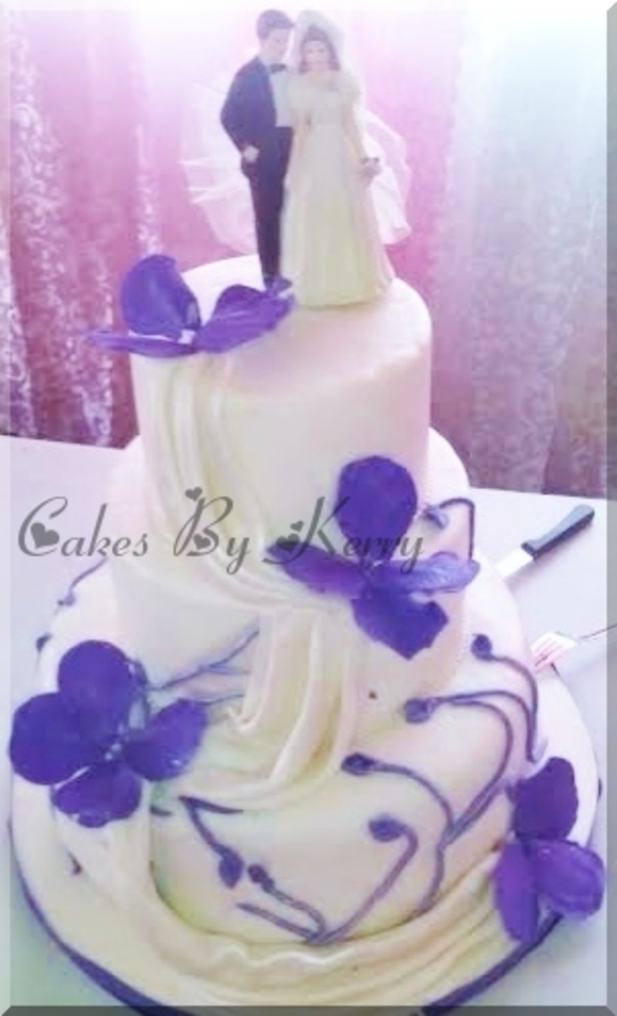 Purple And White Wedding Cake on Cake Central