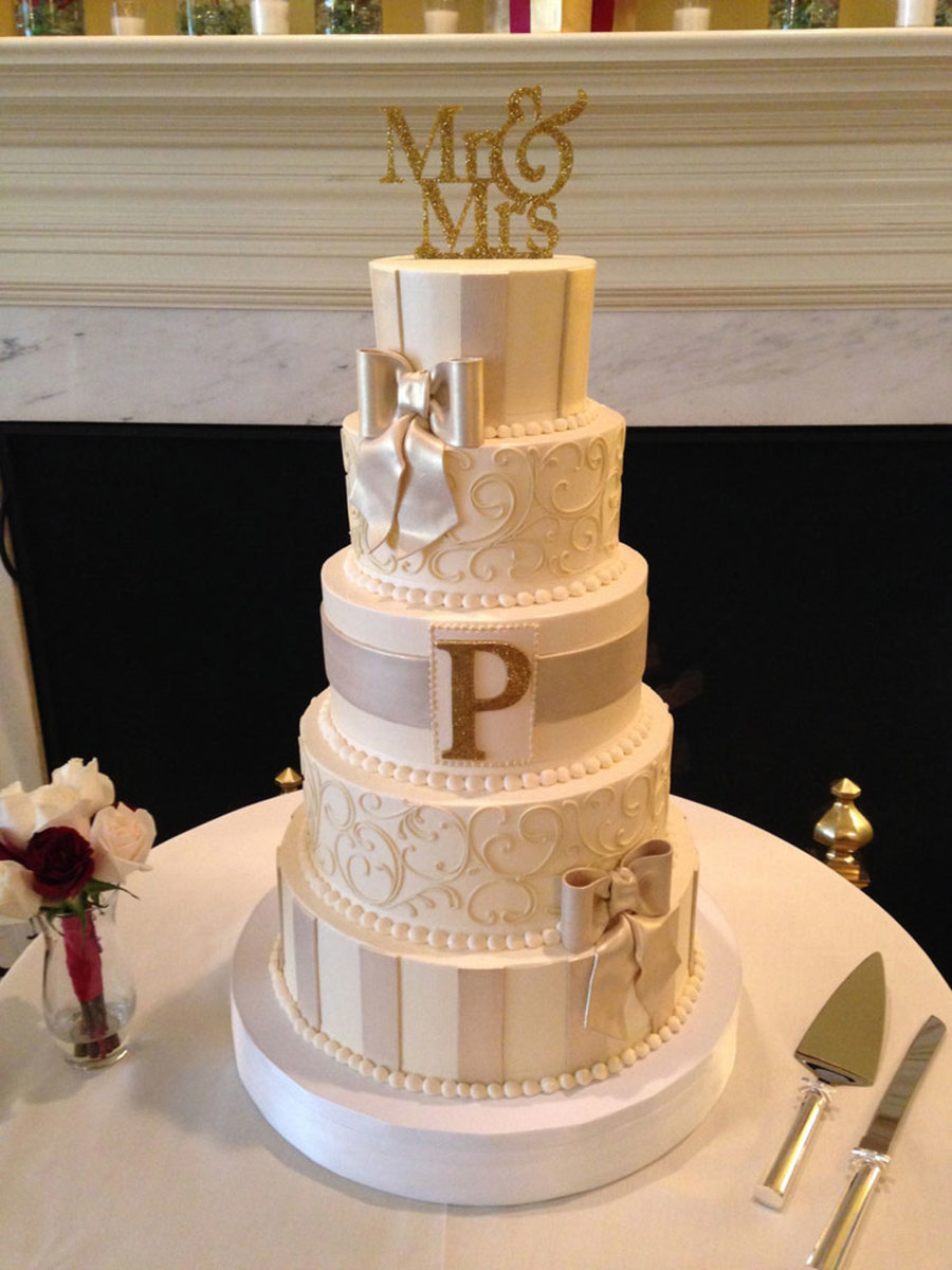 Buttercream Wedding Cake With Gold Monogram Cakecentral Com