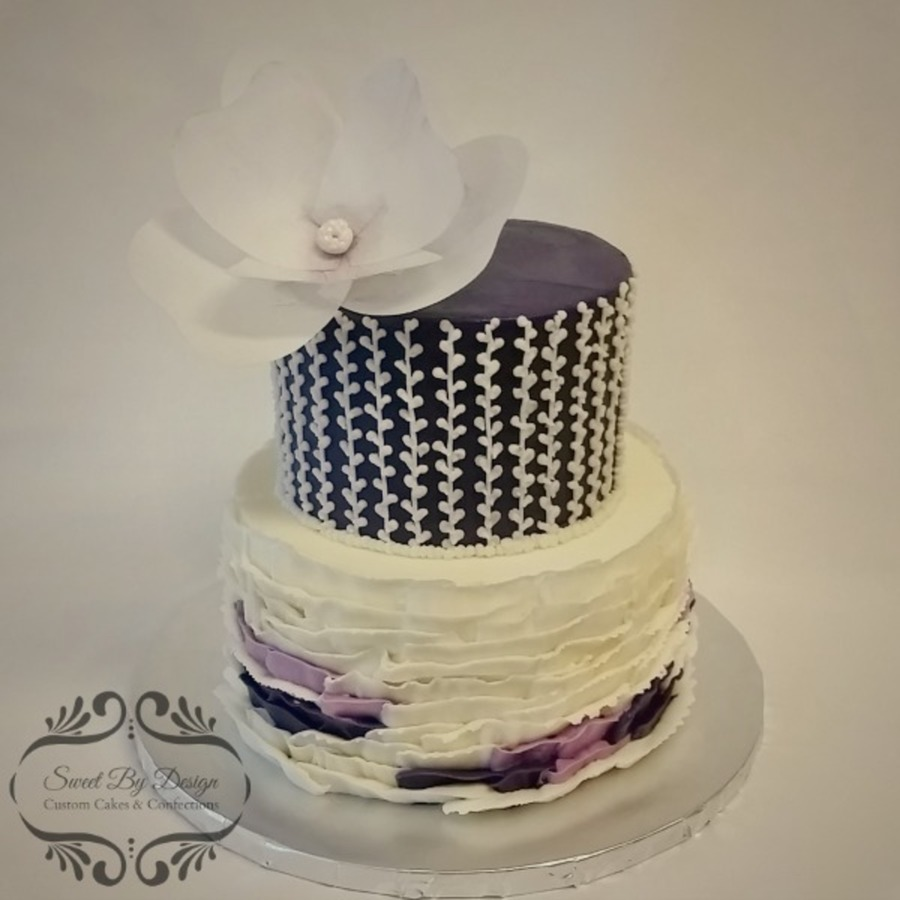 Buttercream Ruffles And Wafer Paper Flower Cakecentral