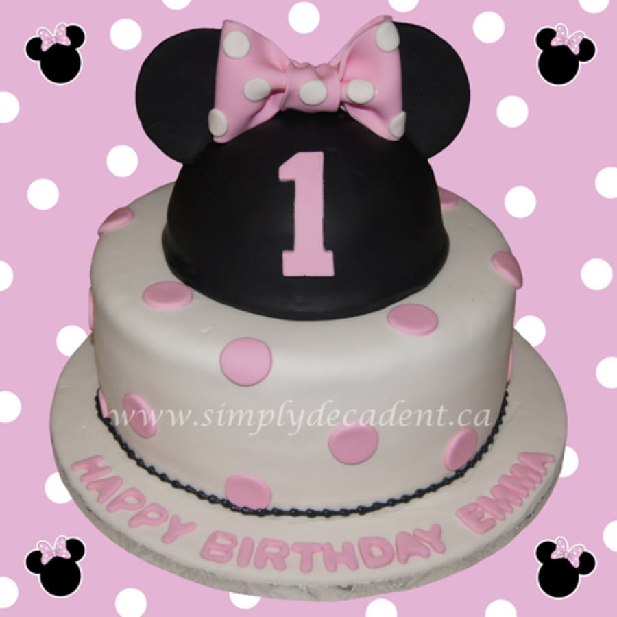 2 Tier Fondant Disney Minnie Mouse Birthday Cake With Ears Hat On Central