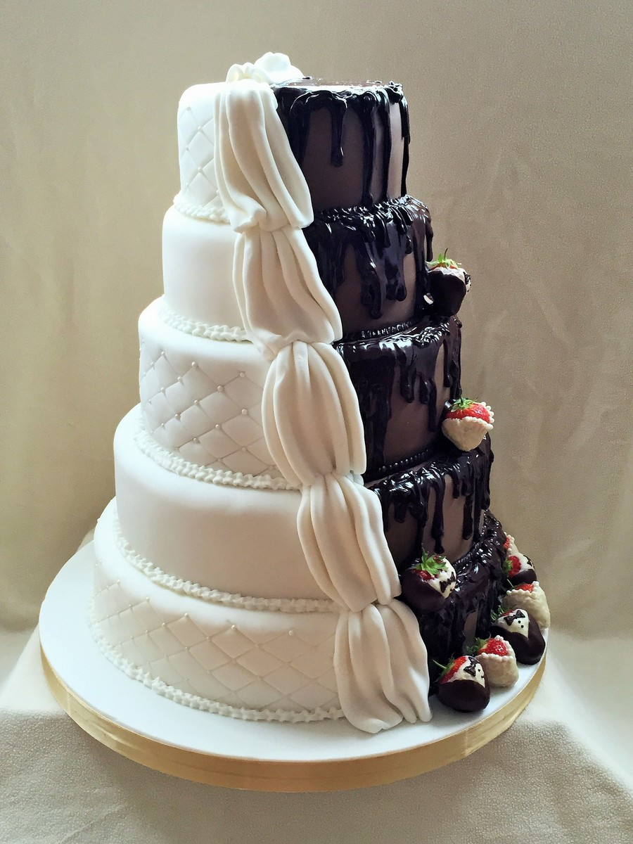 half chocolate and vanilla wedding cake half and half wedding cake cakecentral 15049