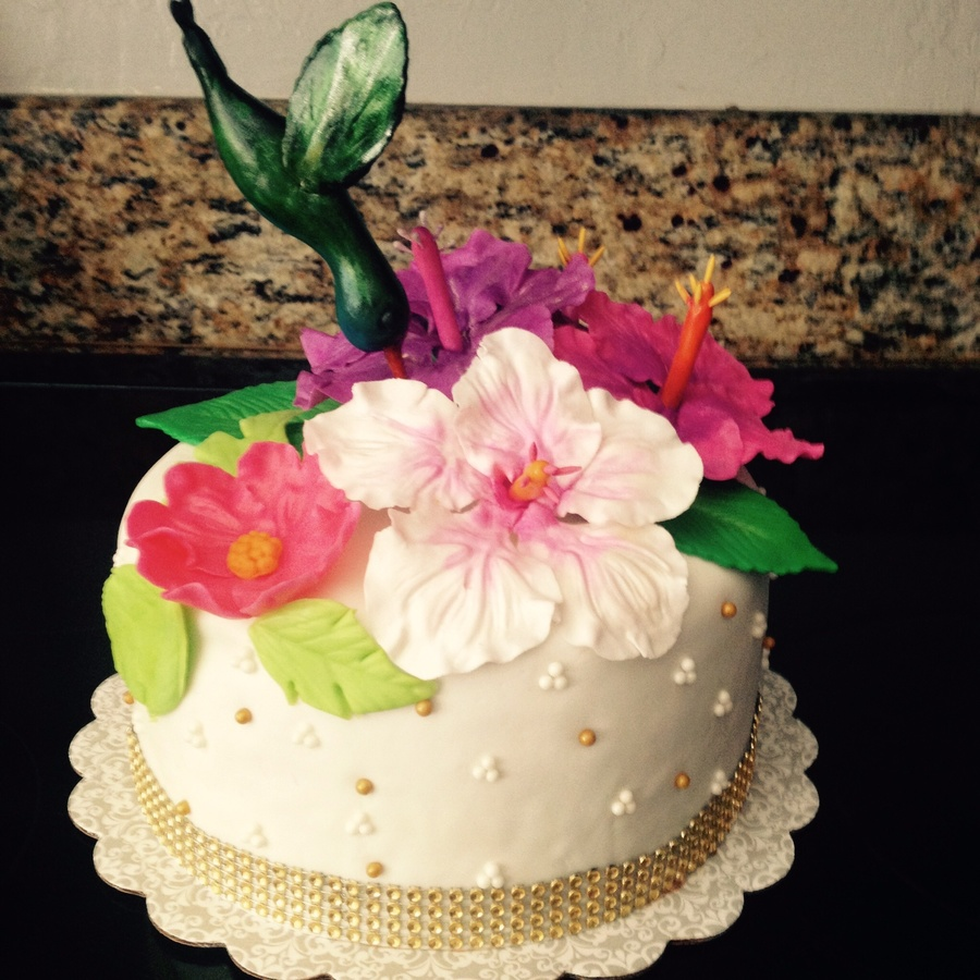 Hummingbird And Hibiscus Cake on Cake Central