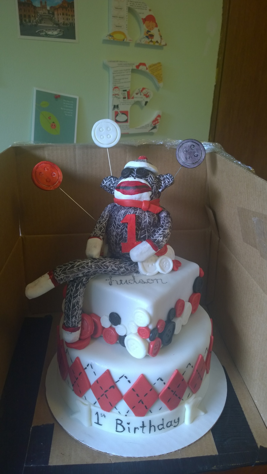 Sock Monkey 1st Birthday Cake Cakecentral Com