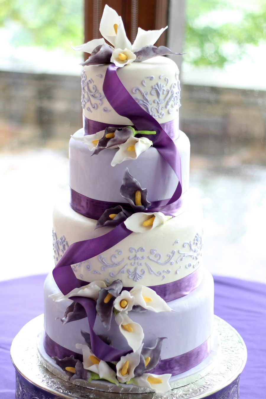 Lavender And White Sugar Calla Lily Wedding Cake On Central