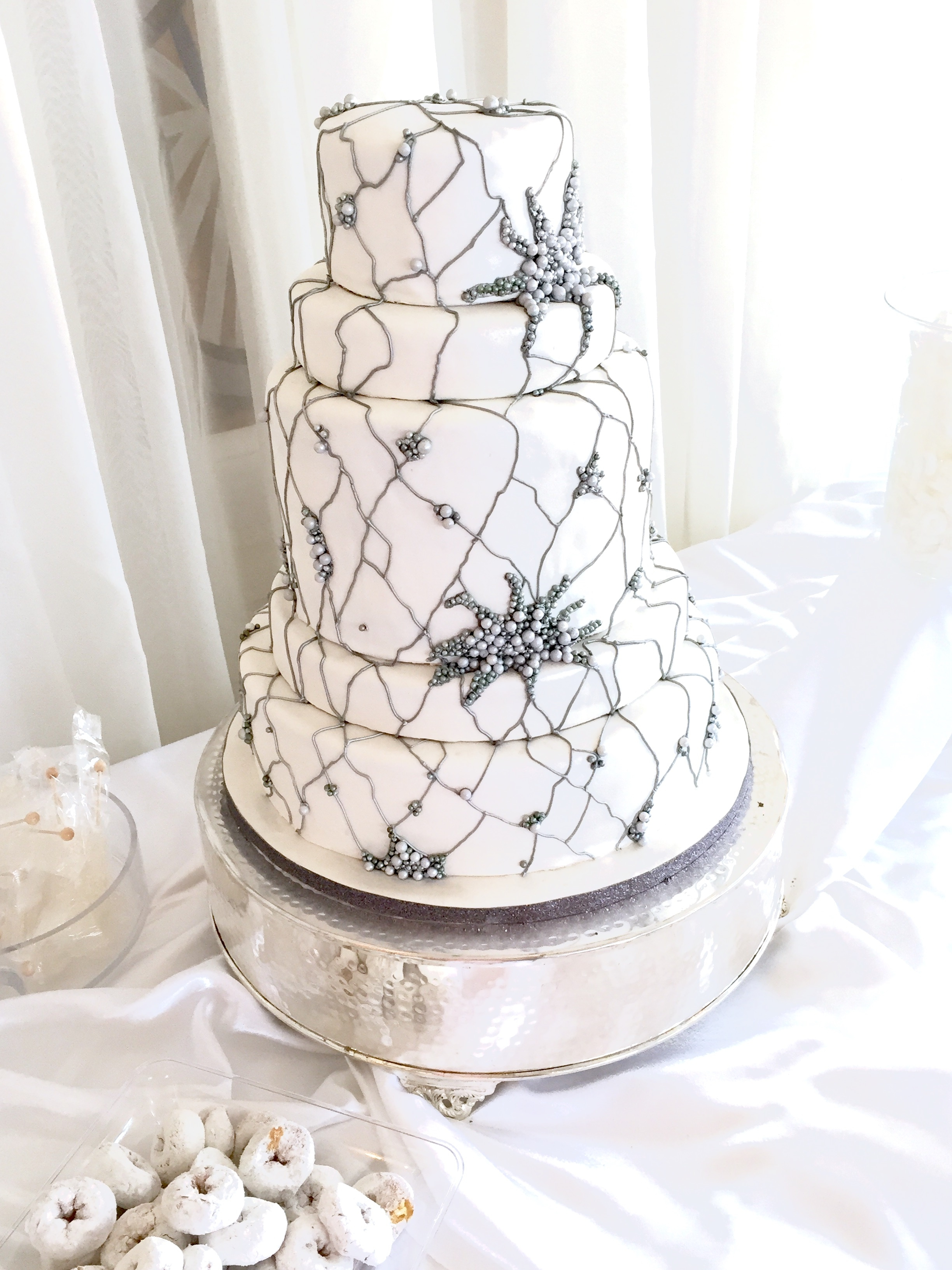 White Cake Design With Colored Piping