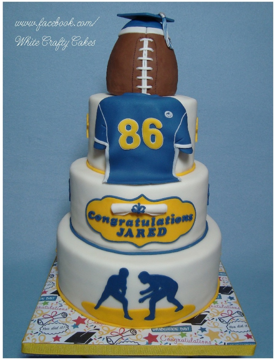 Graduation Cake For A Football Player And Wrestler on Cake Central