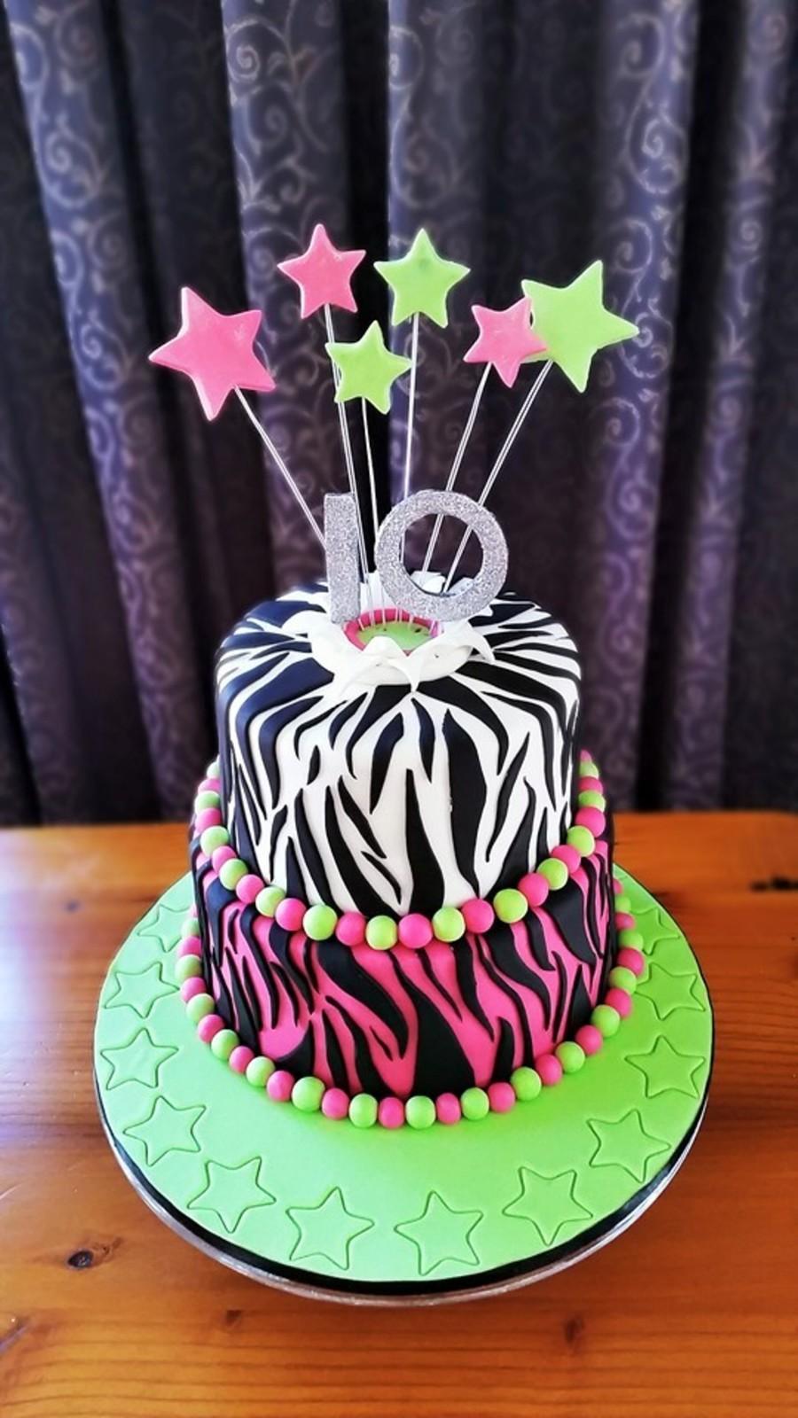 Pink And Black Animal Print Cake