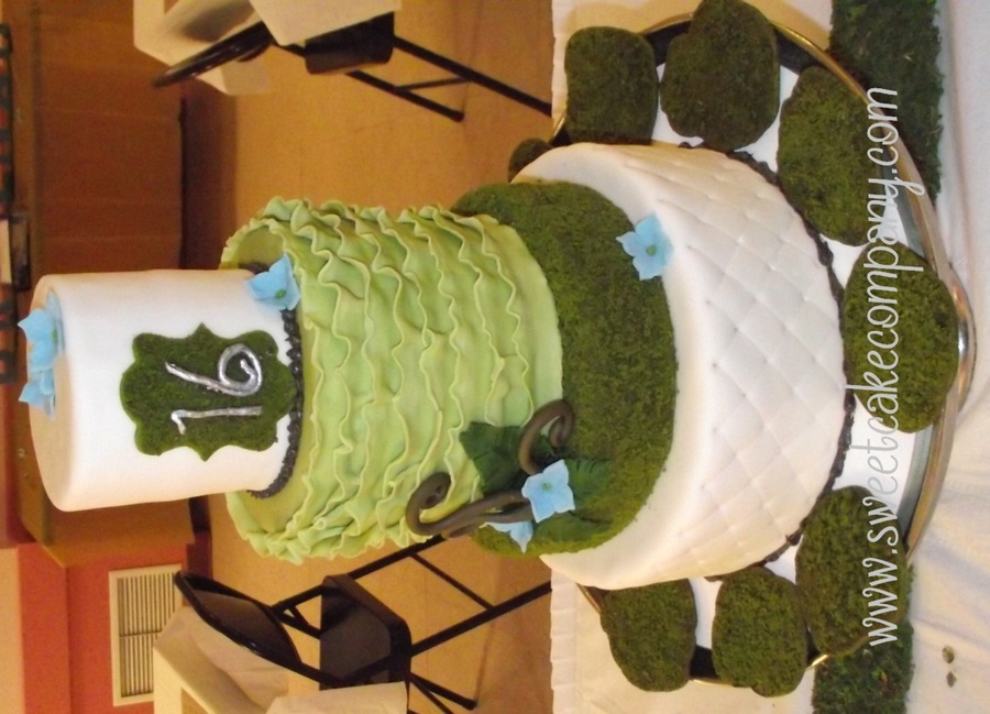 Moss, Fern And Ruffles Sweet Sixteen Cake on Cake Central