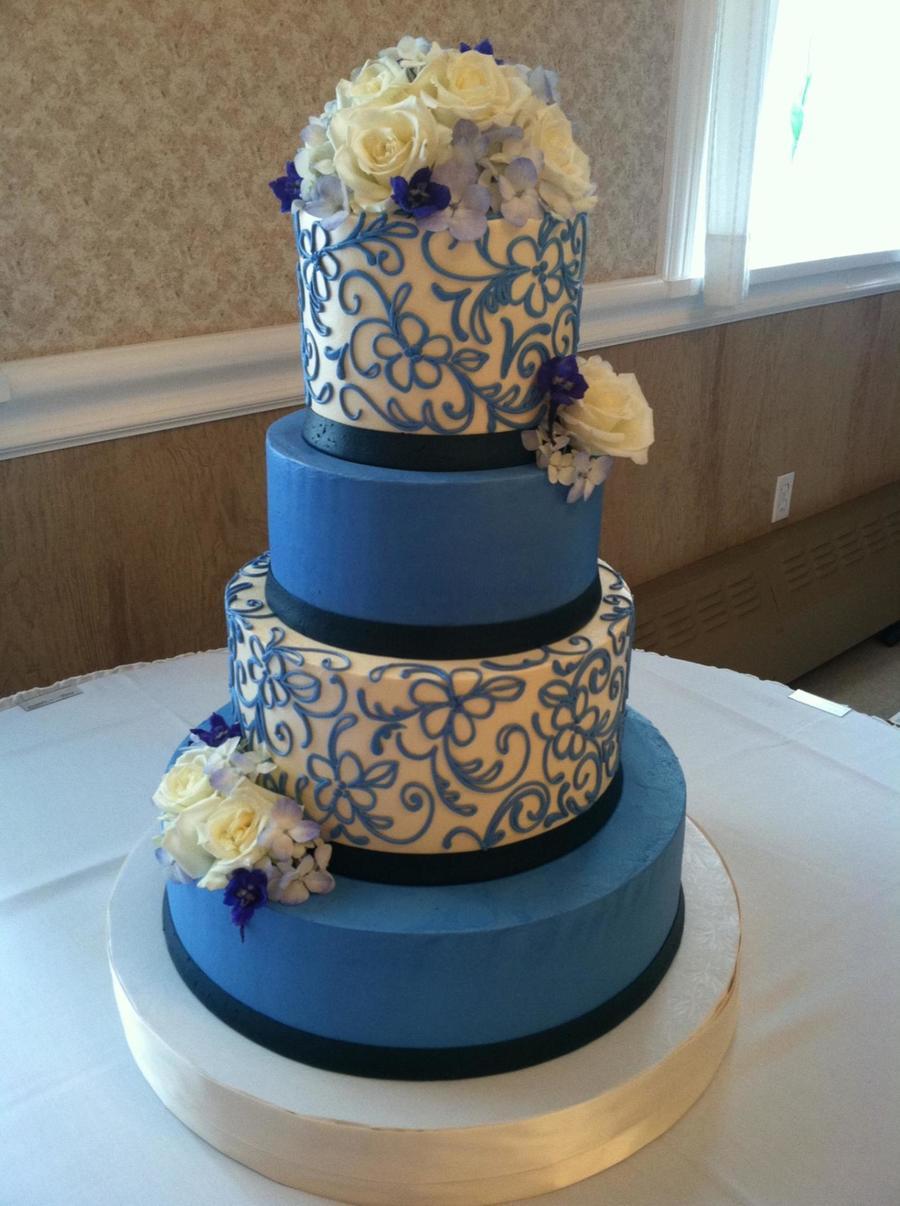 Wedding Cake Decorating Buttercream : Cornflower Blue Buttercream Wedding Cake - CakeCentral.com