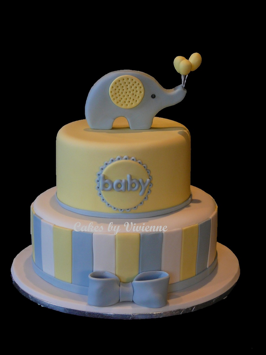 Elephant With Balloons Baby Shower Cake Cakecentral Com