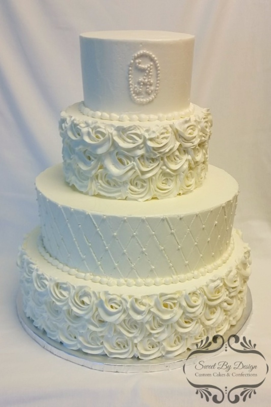 Buttercream Rosette And Quilt Wedding Cake Cakecentral Com