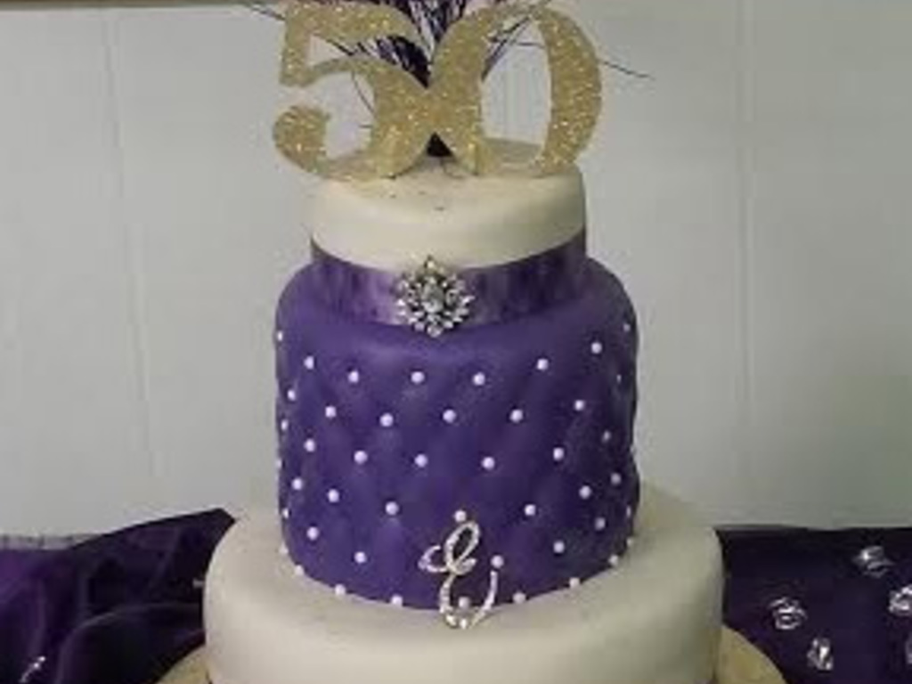 3 Tier 50Th Birthday Cake With A Taller 2Nd