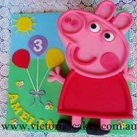 Peppa Pig Birthday Cake 2D Peppa Pig birthday cake.For more pictures please visit my facebook page https://www.facebook.com/victoriascakes.com.au