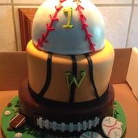 Sports Themed 3 tier sports themed cake.