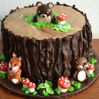 Tree Stump Cake With Woodland Animals woodland tree stump for baby shower with woodland animals - bear, fox & owl
