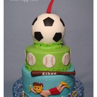 Soccer, Baseball And Swimming Cake  My grandson requested that his birthday cake have soccer, baseball, and swimming on it, three sports that he did this year. Since the party...