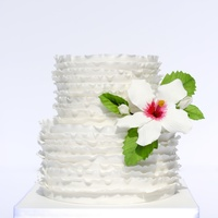 Ruffle Wedding Cake Inspired by Maggie Austin. Gumpaste hibiscus flower.