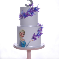 Frozen Butterfly Birthday Cake I made this cake for my Daughters 3rd Birthday. She loves Elsa, Butterflies and the colour purple. 5 and 7 inch cake (5.5 high). White choc...