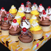 Ice Cream Cone Cupcakes Baked directly in the cone and covered with either vanilla buttercream, chocolate buttercream or lemon buttercream. Cherries are cherry...
