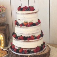 Rustic Semi Naked Cake   Semi naked to go with the venues white washed barn theme, fresh fruit
