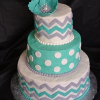 Chevron & Dot Birthday Cake 3 tiered turquoise, gray & white dots and chevrons with flower