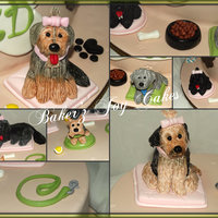 Dogs Cake   Dummy cake with all hand made edible dogs and accessories. Each Dog is hand made and then painted.
