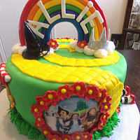 Wizard Of Oz Cake   sugar sheet pics, items hand made from fondant, fondant rainbow, all edible