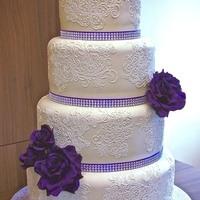 Purple Roses Wedding Cake Purple roses wedding cake all fruit cakes and 24 inches high